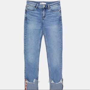 Zara Relaxed Mid Rise Pearl Detail Jeans Size 10